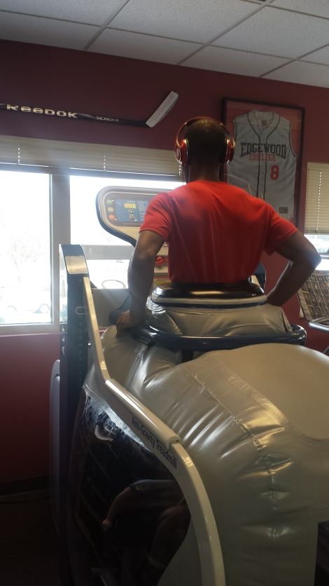 Kam on the Anti Gravity Machine @ Sports and Spine Clinic in Madison, WI